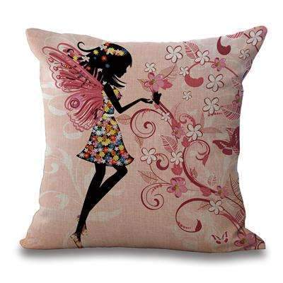PinKart-USA Online Shopping 6 / 45x45cm Just Cover Square 18 Cotton Linen Decorative Cushions Flower Fairy Bike Butterfly Throw Pillows Sofa Home