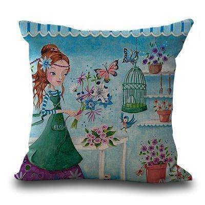 PinKart-USA Online Shopping 6 / 45x45cm Miracille Square 18 Flowers Girls Printed Cartoon Sofa Throw Cushions Butterfly Living Room