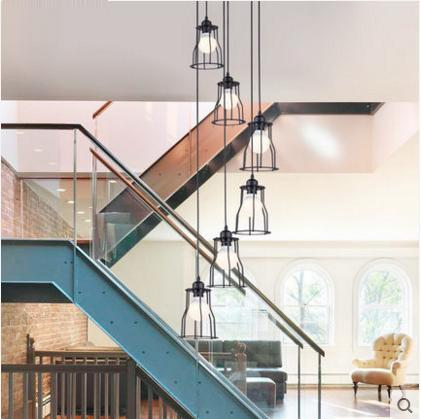 PINkart-USA Online Shopping 6 lights C Modern Simple Staircase Dining Room Chandelier Restaurant Creative Personality Villa Double