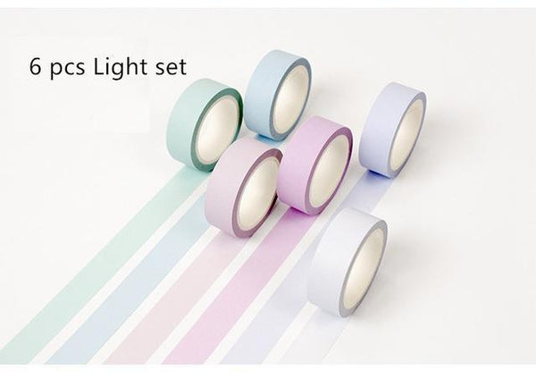 PINkart-USA Online Shopping 6 pcs Light color 12 Color Soft Color Paper Washi Tape 15Mm*8M Pure Masking Tapes Decorative Stickers Diy Stationery