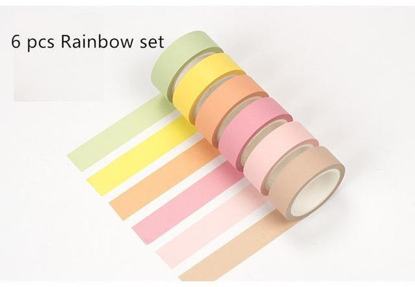 PINkart-USA Online Shopping 6 pcs Rainbow set 12 Color Soft Color Paper Washi Tape 15Mm*8M Pure Masking Tapes Decorative Stickers Diy Stationery