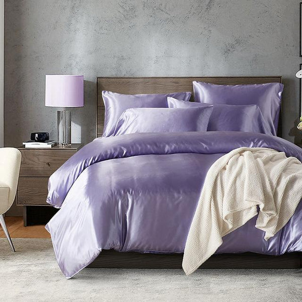PINkart-USA Online Shopping 6 / UK Double Narwaldate Simulation Silk Bedding Sets Double Twin King Queen Size Purple Adult Bed Set Smooth