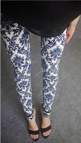 PINkart-USA Online Shopping 6 white porcelain / One Size Rose Flower Printed Leggings Fashion Best Quality Women Lady Slim High Elastic Cotton Pants
