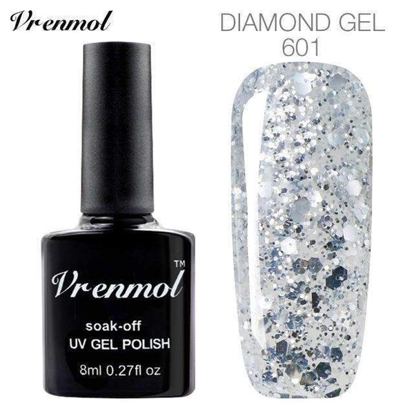 PinKart-USA Online Shopping 601 3D Diamond Glitter Gel Nail Polish Soak Off Semi Permanen Uv Led Shimmer Diy Art 20 Colors