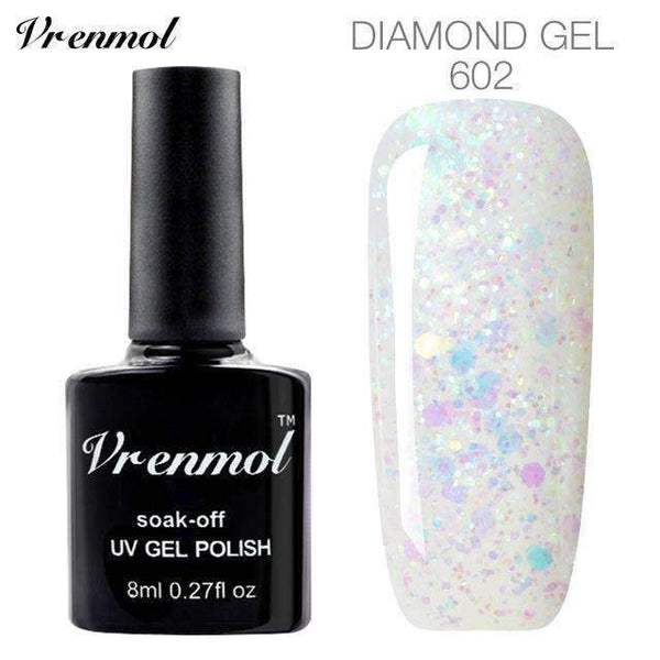 PinKart-USA Online Shopping 602 3D Diamond Glitter Gel Nail Polish Soak Off Semi Permanen Uv Led Shimmer Diy Art 20 Colors