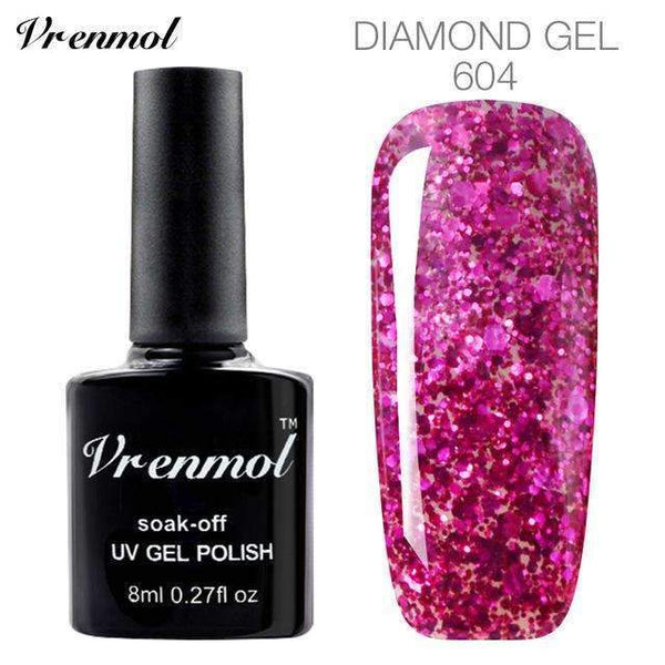 PinKart-USA Online Shopping 604 3D Diamond Glitter Gel Nail Polish Soak Off Semi Permanen Uv Led Shimmer Diy Art 20 Colors