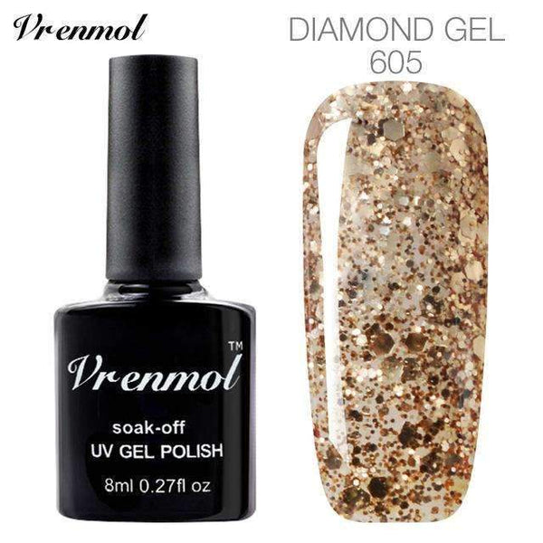 PinKart-USA Online Shopping 605 3D Diamond Glitter Gel Nail Polish Soak Off Semi Permanen Uv Led Shimmer Diy Art 20 Colors