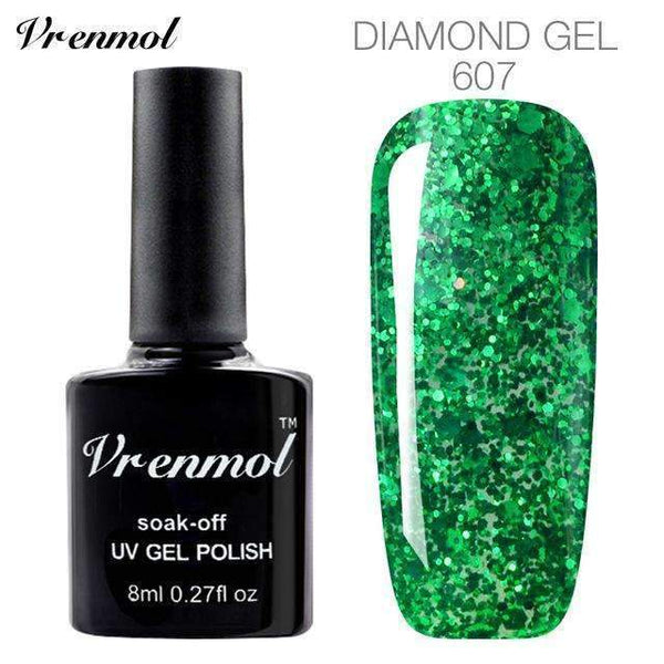 PinKart-USA Online Shopping 607 3D Diamond Glitter Gel Nail Polish Soak Off Semi Permanen Uv Led Shimmer Diy Art 20 Colors