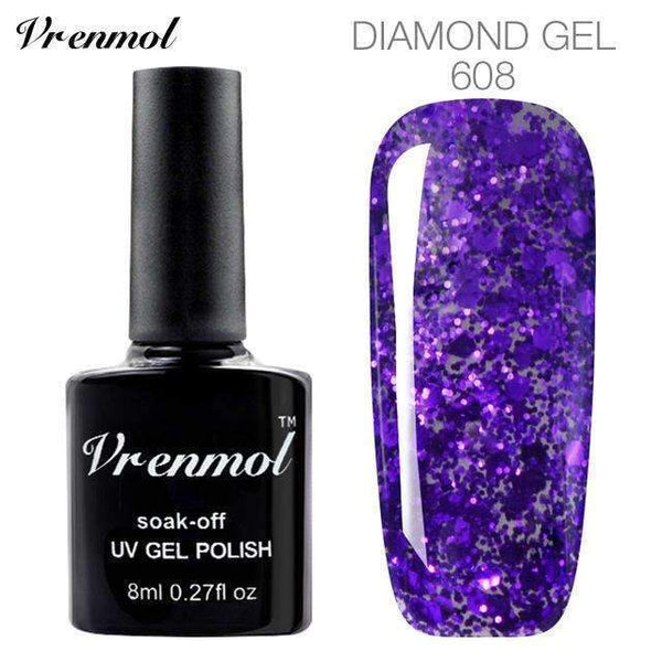 PinKart-USA Online Shopping 608 3D Diamond Glitter Gel Nail Polish Soak Off Semi Permanen Uv Led Shimmer Diy Art 20 Colors