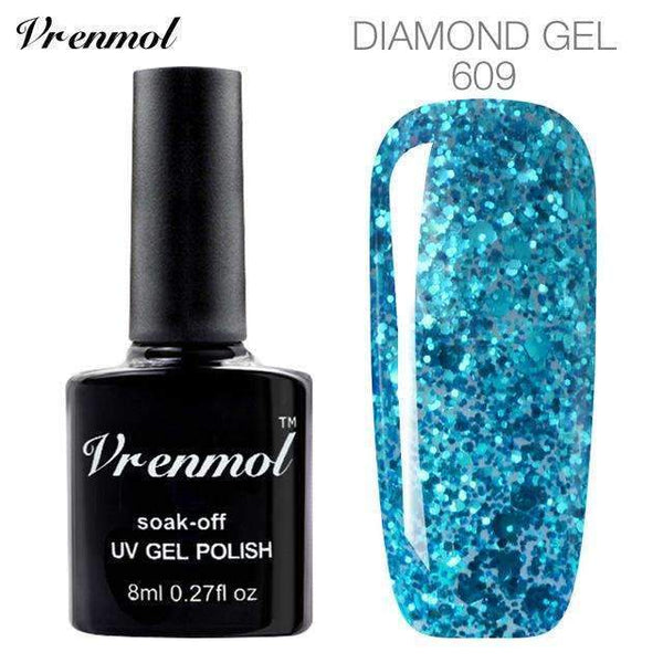 PinKart-USA Online Shopping 609 3D Diamond Glitter Gel Nail Polish Soak Off Semi Permanen Uv Led Shimmer Diy Art 20 Colors