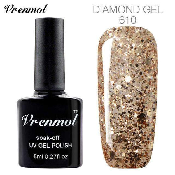 Vrenmol 3D Diamond Glitter Gel Nail Polish Soak Off Semi Permanen Uv Led Shimmer Diy Art 20 Colors Online Shopping PINkart.in