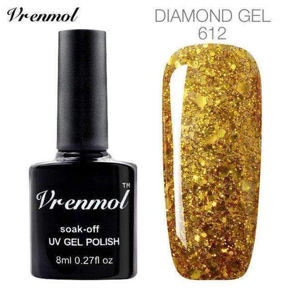PinKart-USA Online Shopping 612 3D Diamond Glitter Gel Nail Polish Soak Off Semi Permanen Uv Led Shimmer Diy Art 20 Colors