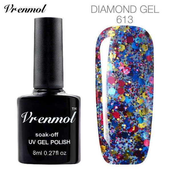 PinKart-USA Online Shopping 613 3D Diamond Glitter Gel Nail Polish Soak Off Semi Permanen Uv Led Shimmer Diy Art 20 Colors