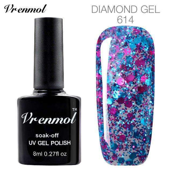 PinKart-USA Online Shopping 614 3D Diamond Glitter Gel Nail Polish Soak Off Semi Permanen Uv Led Shimmer Diy Art 20 Colors