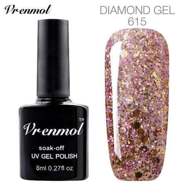 PinKart-USA Online Shopping 615 3D Diamond Glitter Gel Nail Polish Soak Off Semi Permanen Uv Led Shimmer Diy Art 20 Colors