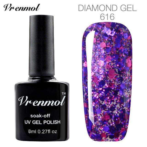 3D Diamond Glitter Gel Nail Polish Soak Off Semi Permanen Uv Led Shimmer Diy Art 20 Colors