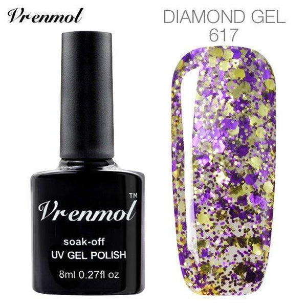 PinKart-USA Online Shopping 617 3D Diamond Glitter Gel Nail Polish Soak Off Semi Permanen Uv Led Shimmer Diy Art 20 Colors