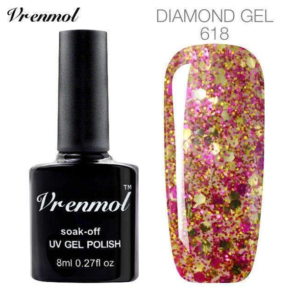 PinKart-USA Online Shopping 618 3D Diamond Glitter Gel Nail Polish Soak Off Semi Permanen Uv Led Shimmer Diy Art 20 Colors