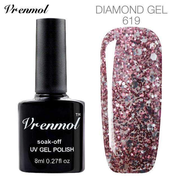 PinKart-USA Online Shopping 619 3D Diamond Glitter Gel Nail Polish Soak Off Semi Permanen Uv Led Shimmer Diy Art 20 Colors