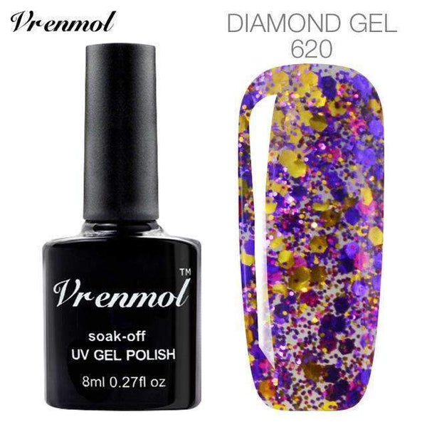 PinKart-USA Online Shopping 620 3D Diamond Glitter Gel Nail Polish Soak Off Semi Permanen Uv Led Shimmer Diy Art 20 Colors
