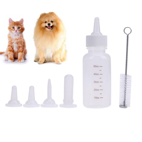 PINkart-USA Online Shopping 6Pcs 50Ml Puppy Kitten Feeding Bottle Pet Dog Cat Nursing Water Milk Feeder Tool Bottle Cleaning