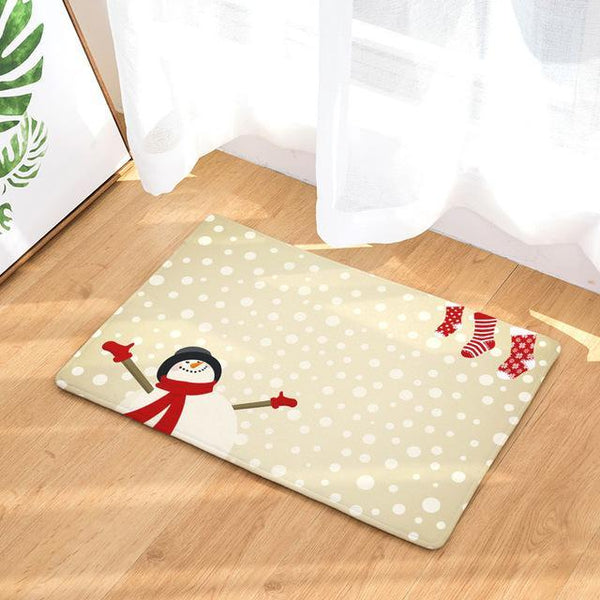 PINkart-USA Online Shopping 7 / 400mm x 600mm Hyha Xmas Mat Waterproof Anti-Slip Doormat Santa Claus Snow Carpets Bedroom Rugs Decorative Stair