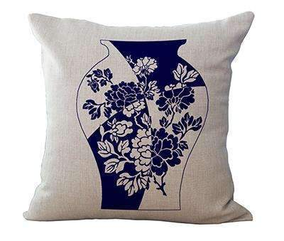 PinKart-USA Online Shopping 7 / 45x45cm Square 18 Linen Cushion Blue And White Porcelain Printed Home Decorative Cushions Almofada For