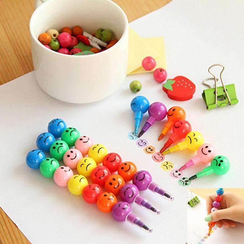 PinKart-USA Online Shopping 7 Colors Creative Sugar-Coated Haws Crayons Cartoon Smiley Graffiti Pen For Kids School Office