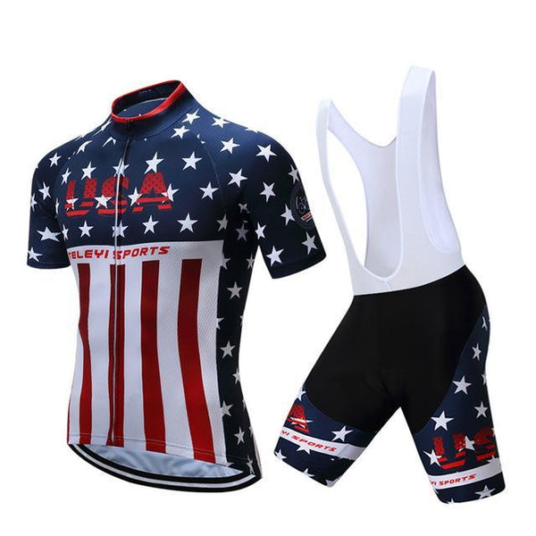 PINkart-USA Online Shopping 7 / S Teleyi Brand Pro Team Racing Sport Cycling Jersey Sets Men Usa Style Mtb Road Bike Jersey Quick Dry