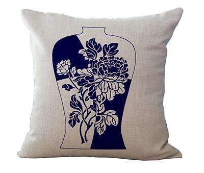 PinKart-USA Online Shopping 8 / 45x45cm Square 18 Linen Cushion Blue And White Porcelain Printed Home Decorative Cushions Almofada For
