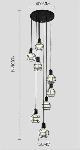 PINkart-USA Online Shopping 8 lights A Modern Simple Staircase Dining Room Chandelier Restaurant Creative Personality Villa Double