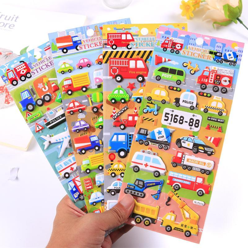 PINkart-USA Online Shopping 8 Pcs Vehicle Sticker Cartoon Car Plane Ambulance Police Dumpers Post Mail Van 3D Stickers Kids