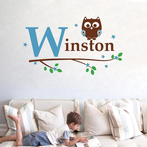 PinKart-USA Online Shopping 82X60Cm Kids Boy Name Owl Wall Decal Sticker ,Custom Name Owl Tree Vinyl Stickers