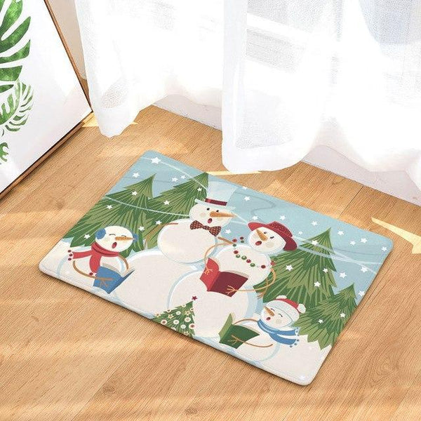 PINkart-USA Online Shopping 9 / 400mm x 600mm Hyha Xmas Mat Waterproof Anti-Slip Doormat Santa Claus Snow Carpets Bedroom Rugs Decorative Stair