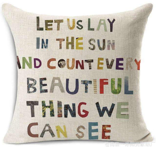 PinKart-USA Online Shopping 9 / 45x45 cm Hyha Funny Words Pillow Case Home 45X45 Cm Pillows Sea Sun Sand Style Pillowcases Home Pillows