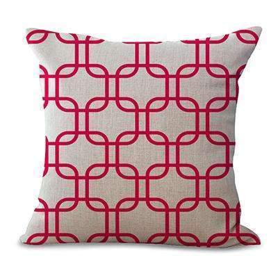 PinKart-USA Online Shopping 9 / 45x45cm No Filling Miracille Linen Cotton 18X18 Inch Geometry Gotcha Link Cushion Home Decorative Throw Pillows Sofa