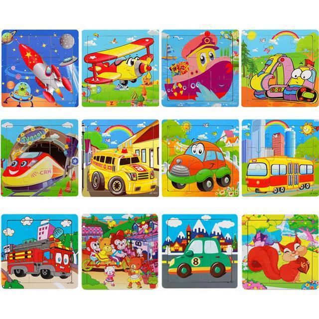 PINkart-USA Online Shopping 9 Pieces Puzzle 2 Children Kids Cute Wooden Jigsaw Learning Education Cartoon Animal Puzzle Developmental Baby