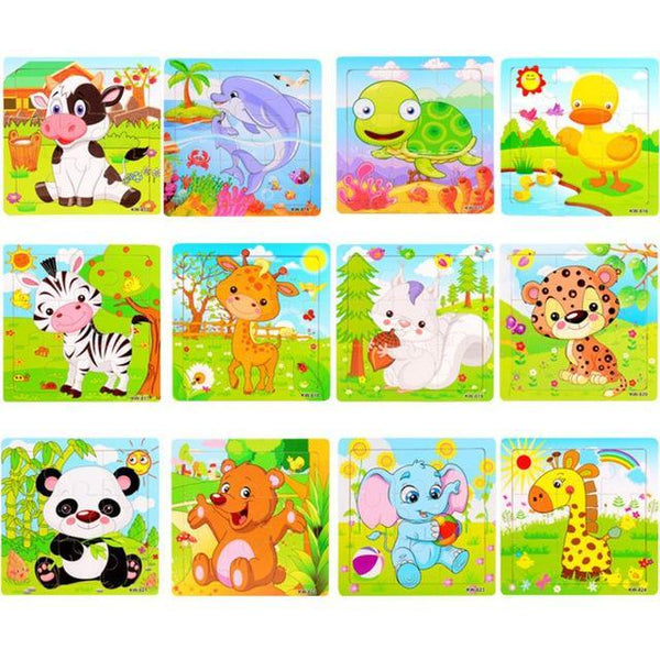 PINkart-USA Online Shopping 9 Pieces Puzzle 4 Children Kids Cute Wooden Jigsaw Learning Education Cartoon Animal Puzzle Developmental Baby