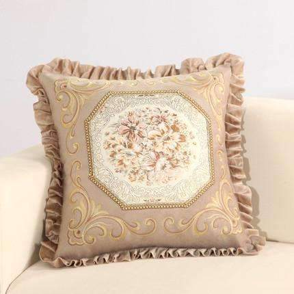 PinKart-USA Online Shopping A / 45x45m only cover Luxurious Embroidery Velour Home Decor Cushion Decoration Lace Pillow / European Velvet Sofa