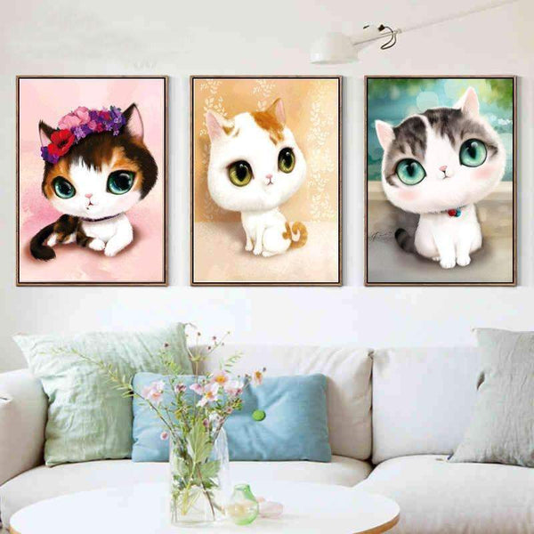 PinKart-USA Online Shopping A 5D Diy Diamond Mosaic Diamond Embroidery Bedroom Cartoon Animals Cute Cat Point Diamond Paste