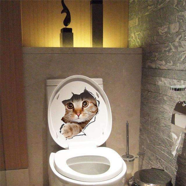 PinKart-USA Online Shopping A Cat Vivid 3D Look Hole Wall Sticker Bathroom Toilet Decorations Kids Gift Kitchen Cute Home Decor