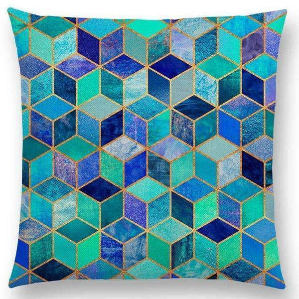 PinKart-USA Online Shopping a003601 / 45x45cm No Filling Hot Sale Abstract Nature Ornate Crystal Gradient Colorful Cubes Dazzling Diamond Geometric