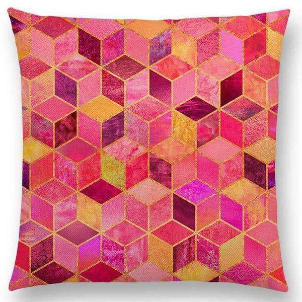 PinKart-USA Online Shopping a003602 / 45x45cm No Filling Hot Sale Abstract Nature Ornate Crystal Gradient Colorful Cubes Dazzling Diamond Geometric