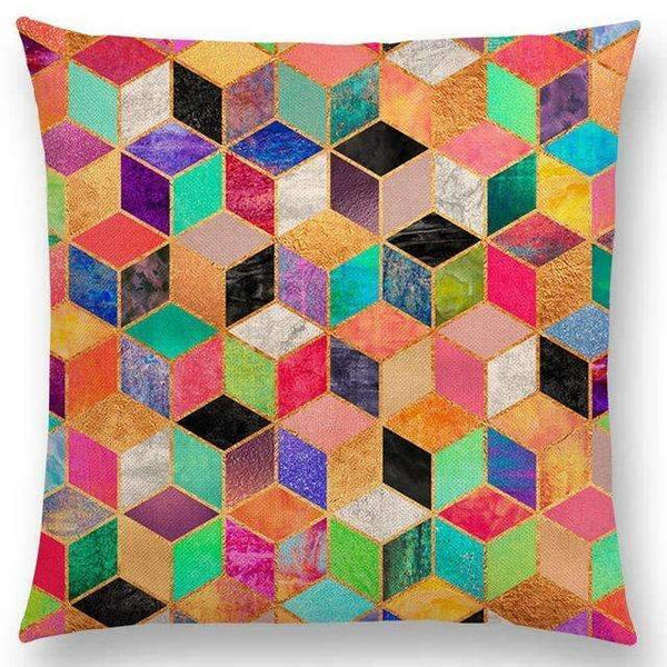 PinKart-USA Online Shopping a003603 / 45x45cm No Filling Hot Sale Abstract Nature Ornate Crystal Gradient Colorful Cubes Dazzling Diamond Geometric