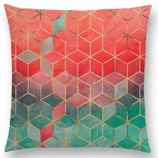 PinKart-USA Online Shopping a003607 / 45x45cm No Filling Hot Sale Abstract Nature Ornate Crystal Gradient Colorful Cubes Dazzling Diamond Geometric