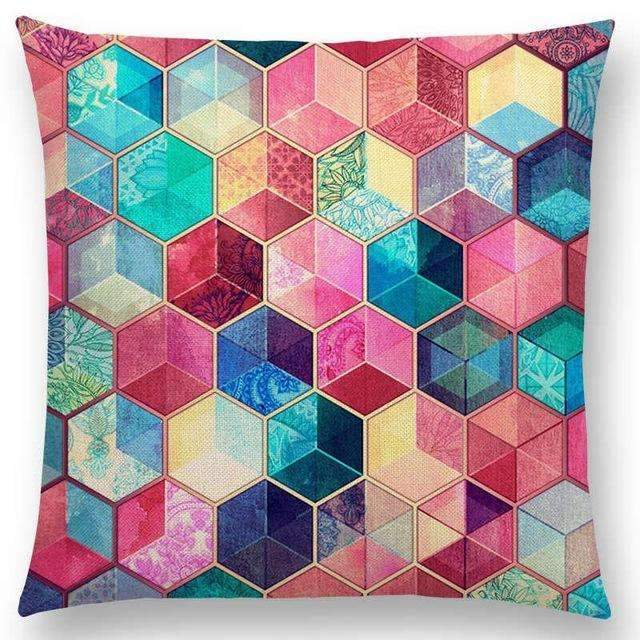 PinKart-USA Online Shopping a005201 / 45x45cm No Filling Hot Sale Gradient Rainbow Pastel Watercolor Moroccan Hexagon Pattern Colorful Gemstone Crystal Cube