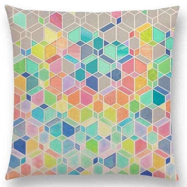 PinKart-USA Online Shopping a005206 / 45x45cm No Filling Hot Sale Gradient Rainbow Pastel Watercolor Moroccan Hexagon Pattern Colorful Gemstone Crystal Cube