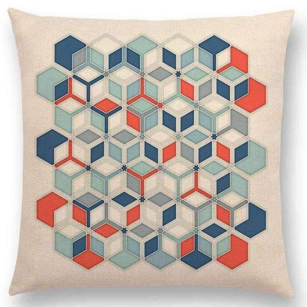 PinKart-USA Online Shopping a005213 / 45x45cm No Filling Hot Sale Gradient Rainbow Pastel Watercolor Moroccan Hexagon Pattern Colorful Gemstone Crystal Cube
