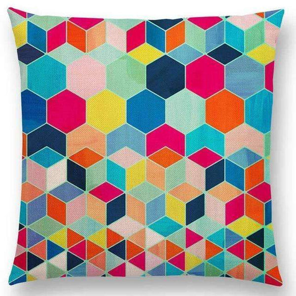 PinKart-USA Online Shopping a005214 / 45x45cm No Filling Hot Sale Gradient Rainbow Pastel Watercolor Moroccan Hexagon Pattern Colorful Gemstone Crystal Cube