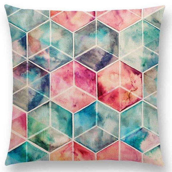 PinKart-USA Online Shopping a005215 / 45x45cm No Filling Hot Sale Gradient Rainbow Pastel Watercolor Moroccan Hexagon Pattern Colorful Gemstone Crystal Cube
